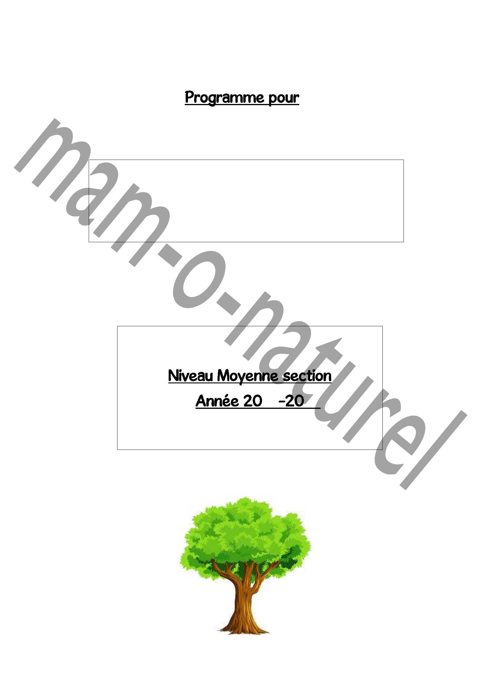 Page de garde programmation moyenne section